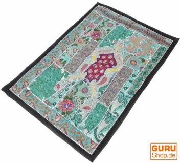 Indischer Wandteppich Patchwork Wandbehang/Tischläufer Einzelstück 90*65 cm - Muster 26