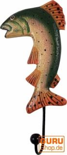 Bunter Holzkleiderhaken, Wandhaken, Kleiderhaken - Fisch