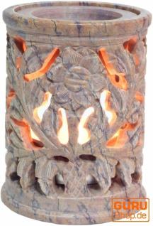 Indische Duftlampe, ätherisches Öl Diffusor, Teelicht Halter für Aromatherapie, Aromalampe aus Speckstein - Rund Blüte 4