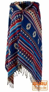 e312299348b168 Weicher Pashmina Schal / Stola, Schultertuch - Maya Muster blau 1 ...