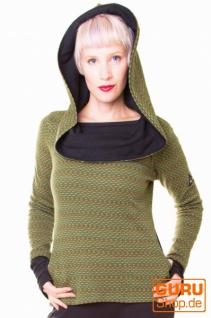 Pullover aus Bio-Baumwolle mit Kapuze / Chapati Design - green polka