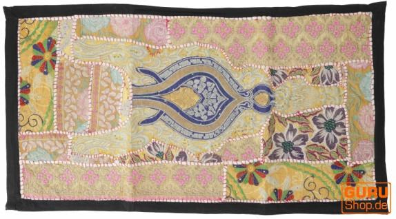 Indischer Wandteppich Patchwork Wandbehang, Tischläufer, Einzelstück 85*45 cm - Muster 24