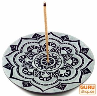 Indischer Räucherstäbchenhalter aus Speckstein, Kerzenteller - Mandala