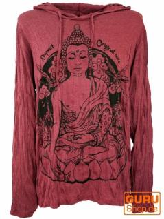 Sure Langarmshirt, Kapuzenshirt Meditation Buddha - bordeaux