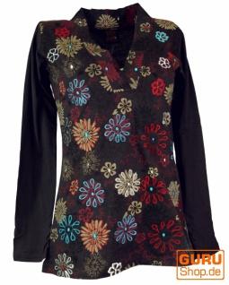Besticktes Langarmshirt mit V-Neck Flower Power Hippie chic - braun/bunt