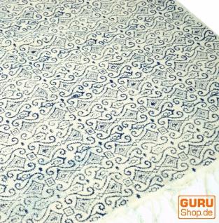 Hangewebter Blockdruck Teppich aus natur Baumwolle mit traditionellem Design - weiß/blau Muster 4