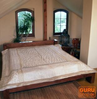 Brokat- Samtdecke, Tagesdecke, Bettüberwurf - weiß