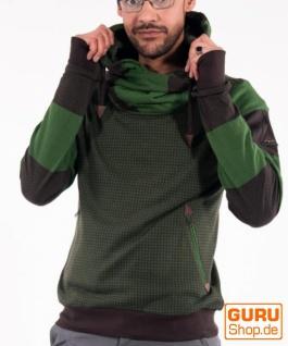 Pullover mit Kapuze aus Bio-Baumwolle / Chapati Design - green/choco