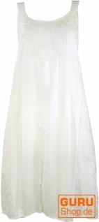 Besticktes Boho Sommerkleid, Midikleid, indisches Hippie Kleid in 3/4 Länge, weiß - Design 9