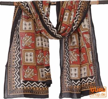 Leichter Pareo, Sarong, handbedrucktes Baumwolltuch - rot Kombination 27