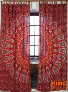 Vorhang, Gardine (1 Paar Vorhänge, Gardinen) mit Schlaufen, Mandala Motiv - rot/orange