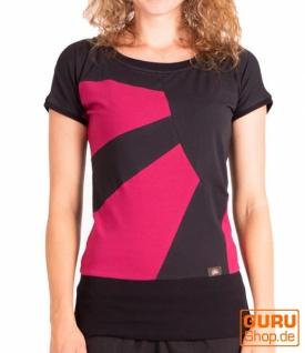 T-Shirt aus Bio-Baumwolle / Chapati Design - black/fuchsia