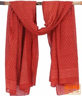 Leichter Pareo, Sarong, handbedrucktes Baumwolltuch - rot Kombination 21