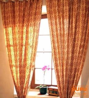 Boho Vorhänge, Gardine (1 Paar ) mit Schlaufen, handbedruckter ethno Style Vorhang - Fisch rot / weiß