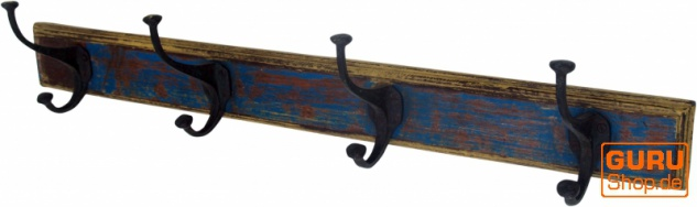 4`er Garderobenhaken antikblau