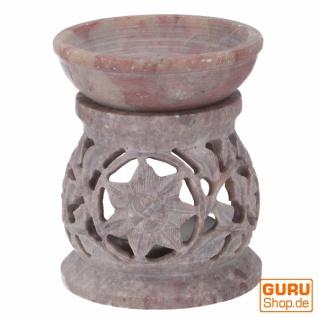 Indische Duftlampe, ätherisches Öl Diffusor, Teelicht Halter für Aromatherapie, Aromalampe aus Speckstein - Rund Blüte 1 - Vorschau 2