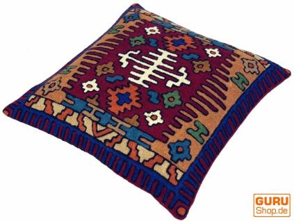 Kelim Kissenhülle `Kaschmir`, bestickter Kissenbezug, Dekokissen aus Wolle - Muster 11