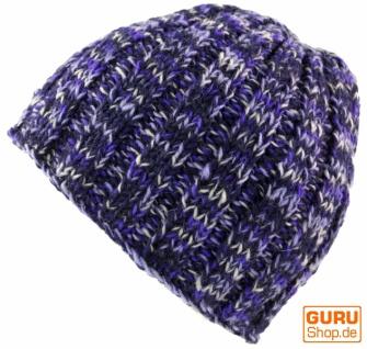 Beanie Mütze, warme Strickmütze - lila