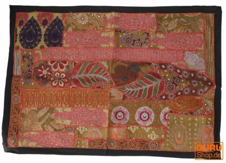 Indischer Wandteppich Patchwork Wandbehang, Einzelstück 90*65 cm - Muster 16