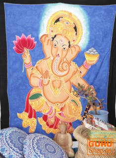 Wandbehang, Wandtuch, Wandbild, Batiktuch - Ganesha