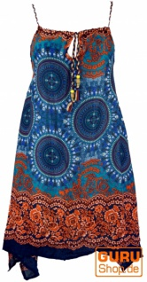 Boho Dashiki Midikleid, Trägerkleid, Strandkleid für starke Frauen - petrol/orange