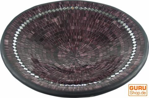 Runde Mosaikschale, Untersetzer, Dekoschale, handgearbeitete Keramik & Glas Obst Schale - Design 16