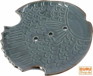 Exotische Keramik Seifenschale - Fisch/graublau