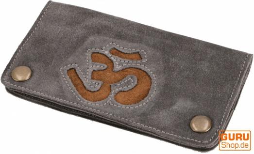 Tabakbeutel, Tabaktasche, Drehtasche aus Leder OM - grau/braun