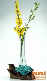 Vase aus Recycelingglas, Glasvase Wurzelholz - M10 - Vorschau 2
