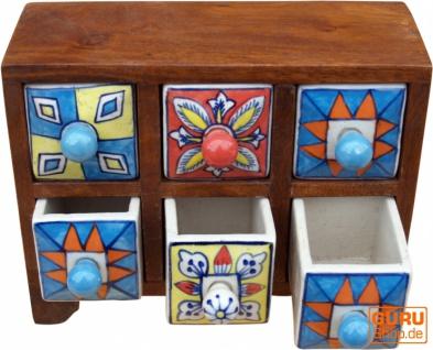 Apothekerschränkchen mit bunten Keramik Schubfächern - 3*2 Fächer Modell 2 - Vorschau 2