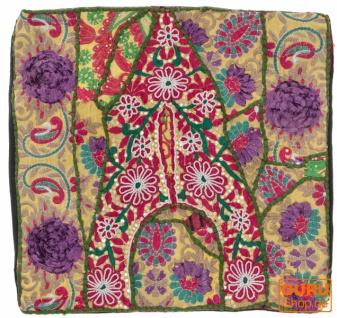 Patchwork Kissenhülle, Dekokissen Bezug aus Rajasthan, Einzelstück - Muster 49