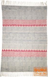 Handgewebter Blockdruck Teppich aus natur Baumwolle mit traditionellem Design - Muster 10