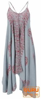 Minikleid Boho chic, langes Top, kurzes Kleid, Benares Longtop - taubenblau