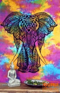 Indisches Wandtuch, Batik Tagesdecke - Chakra Yogi Elefant / Regenbogen