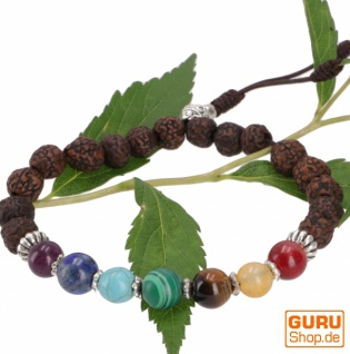 7 Chakren Mala Armband, Handmala mit Halbedelsteinen - Radruksha Buddha Armband