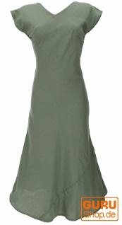 Langes Sommerkleid, Boho chic Leinenkleid - helles olivgrün