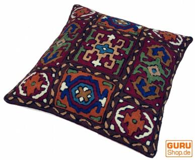 Kelim Kissenhülle `Kaschmir`, bestickter Kissenbezug, Dekokissen aus Wolle - Muster 10