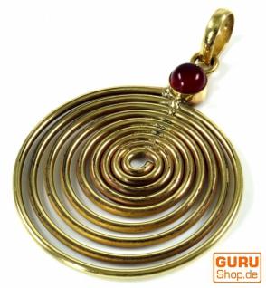 Amulett Lebensspirale, Kettenanhänger aus Messing - Karneol