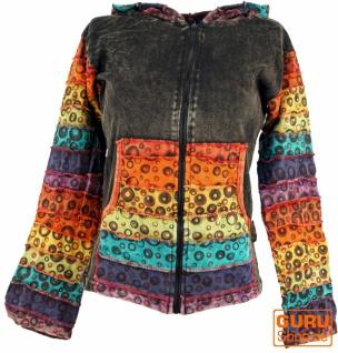Patchwork Stonewash Regenbogen Jacke mit Zipfelkapuze, Goa Jacke - Modell 1
