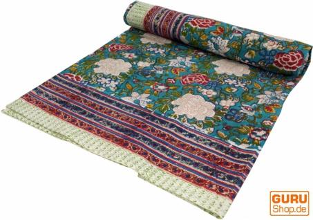 Blockdruck Tagesdecke, Bett & Sofaüberwurf, handgearbeiteter Wandbehang, Wandtuch - grün/bunt Blumen Ornament