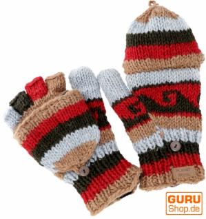 Handschuhe, handgestrickte Klapphandschuhe extra groß - rot/ bunt