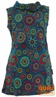 Bestickte Mädchen Tunika mit Schalkragen, kurzärmeliges Ethno Minikleid - petrol