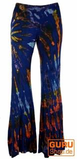 Batik Leggings mit Schlag, Boho Schlaghose - blau