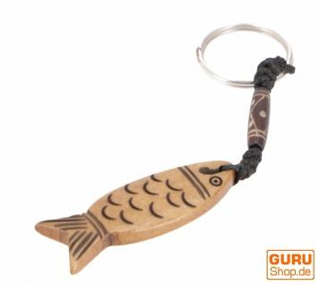 Ethno Tibet Schlüsselanhänger, Gravierter Taschenanhänger - Fisch