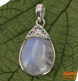 Boho Silberanhänger, Indischer Kettenanhänger aus Silber, Mondsteinanhänger