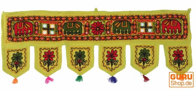 Indischer Wandbehang, Orientalischer Wimpel mit Pailletten, Toran - Elefant grün