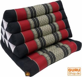Thaikissen, Dreieckskissen, Kapok, Tagesbett mit 1 Auflage - schwarz/rot