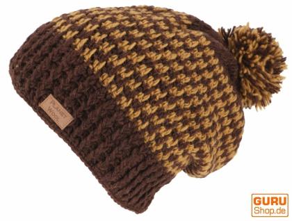 Beanie Mütze, Bommelmütze, Wollmütze aus Nepal - braun/caramel - Vorschau 2