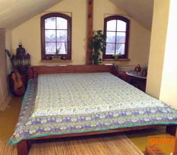 Blockdruck Tagesdecke, Bett & Sofaüberwurf, handgearbeiteter Wandbehang, Wandtuch - Design 14 - Vorschau 2