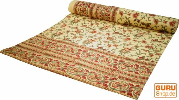 Blockdruck Tagesdecke, Bett & Sofaüberwurf, handgearbeiteter Wandbehang, Wandtuch - gelb/rot Blumen